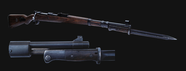 The Kar 98 with early war bayonet attached & detail of the bayonet lug.