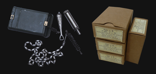 The K98's cleaning kit and boxed rounds.