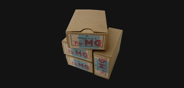Boxes of MG 34 ammunition.