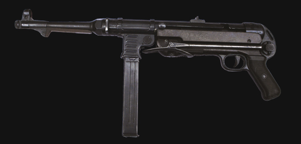 Side view of the MP 40 with stock folded.