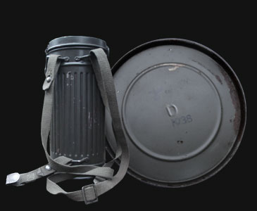German gas mask tin showing straps and waterproof marking on the base