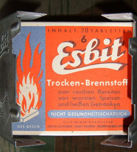 The 'Esbit' cooker and cardboard pack containing fuel blocks