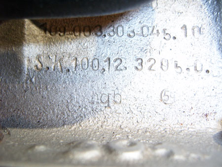 Makers code stamped into the engine case of the BMW-003 Unknown