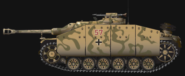 Late WW2 German StuG 40 - illustrated by Neil Barlow
