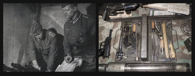 Tools used by the Waffenmeister, a P38  and MG34