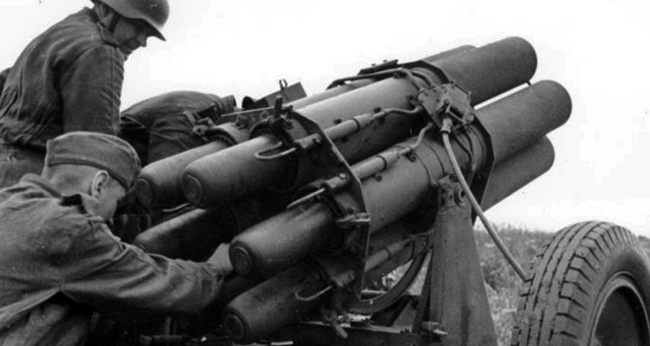 six barrelled 15cm NbW 41; note if you look carefully you can see the rocket motors 22 orifices just sitting on the rim of the launcher tubes.
