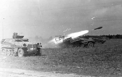 Launched from a Schwere Wurfrahmen 40 and projectile  takes flight.