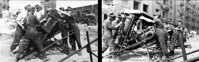 loading and firing of the 'Stuka zu fuss' using the heavy metal support frame Schweres Wurfgerät 41 (sW.G. 41).
