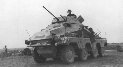 Sd.Kfz.231 (8 Rad) Heavy Armoured Reconnaissance vehicles armed with the Kwk38 2cm flak Cannon